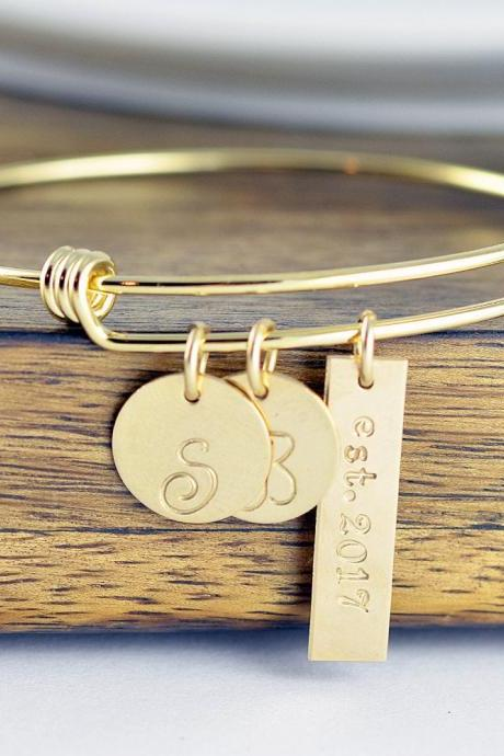 Gold Bracelet Bangle, Personalized Bracelet, Initial Bracelet, Wedding Date Jewelry, Date Bracelet, Anniversary Gift for Wife