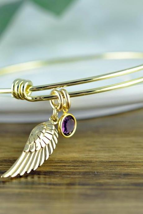 Angel Wing Bracelet, Friendship Bracelet, Angel Wing Jewelry, Angel Wing Bangle Bracelet, Birthstone Bangle, Memorial Jewelry
