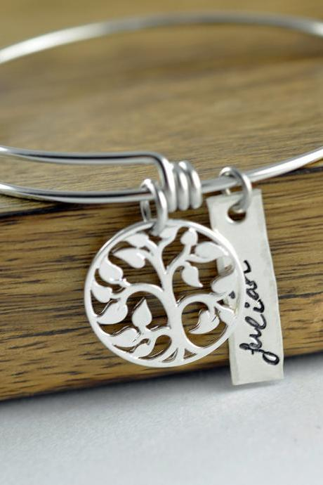Sterling Silver Family Tree Bangle Bracelet, Tree of Life Bracelet, Family Tree of Life Bangle, Bangle Bracelet, Grandmother Gift