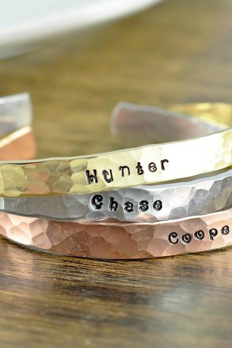 Custom Cuff Bracelet, Personalized Cuff in Copper, Brass, Silver, Personalized Jewelry, Mothers Bracelet, Mommy Jewelry, Kids Name Bracelet