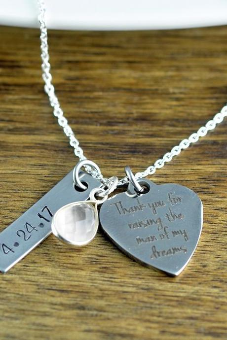 Thank you for raising the woman of my dreams necklace, gift for mother in law to be, mother of the bride gift from groom, Wedding Jewelry