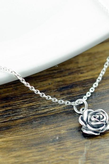 Sterling Silver Rose Necklace - Rose Flower Necklace - Sterling Silver Rose Charm - Flower Jewelry - Dainty Silver Necklace