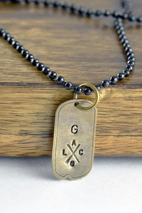 mens dog tag necklace - hand stamped tag necklace - personalized mens necklace - mens necklace - mens jewelry - boyfriend gift - mens gift