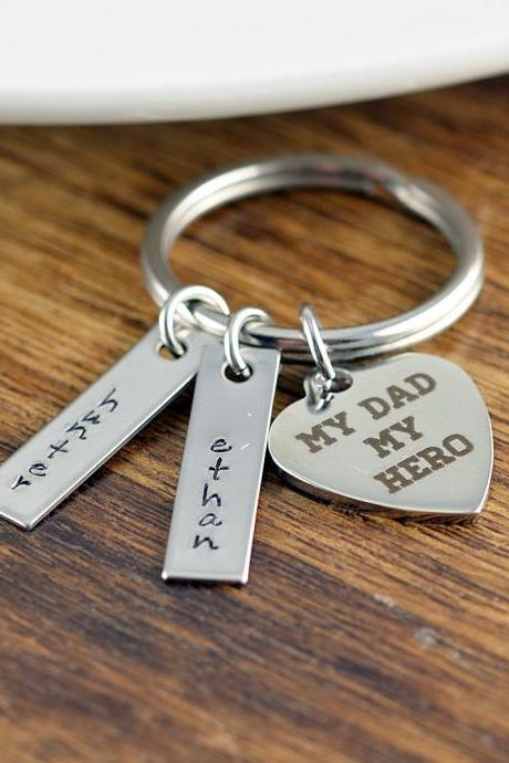 My Dad My Hero KeyChain, Dad KeyChain, Father Keychain, My Dad My Hero Gift, Father Gift, Dad Birthday Gift, gift from kids to dad