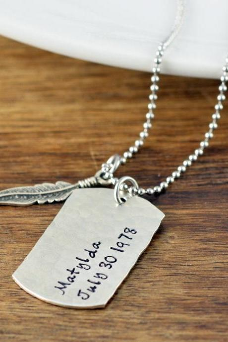 Gift For Men, Feather Necklace, Boyfriend Gift, Sympathy Gift, Memorial Jewelry, In Loving Memory, Remembrance Gifts, Bereavement Gift