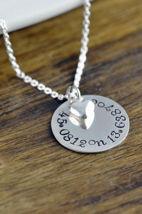 Coordinate Necklace, Latitude Longitude Necklace, Custom Coordinates, Coordinate Jewelry, Hand Stamped Necklace, Coordinates Gift