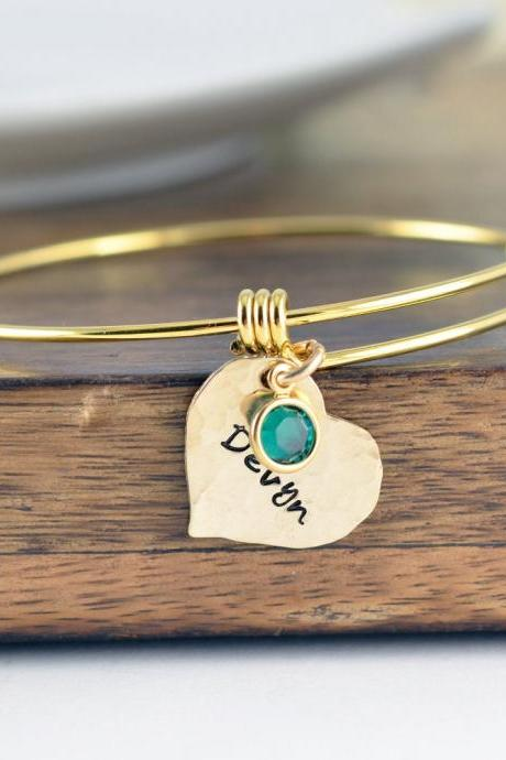 Gold Name Bracelet, Gold Heart Charm Bracelet, Personalized Bracelet, Mothers Jewelry, Mother Bracelet, Birthstone Bracelet, Gifts for Her