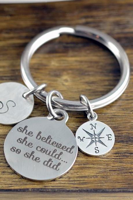 She Believed, Graduation Gift, Personalized Graduation Keychain, Class of 2018, Senior Gift, High School Graduation, College Graduation
