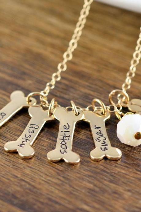 Gold Dog Bone Necklace, Dog Bone Charm, Dog Mom Gift, Dog Paw Charm, Dog Charm Necklace, Dog Lover Necklace,Dog Lover Gift, Dog Gifts