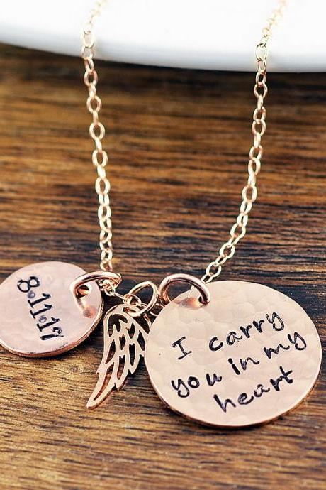 I Carry You In My Heart, Memorial Necklace, Sympathy Gift, Loss and Love, Infant and Pregnancy Loss, Bereavement,