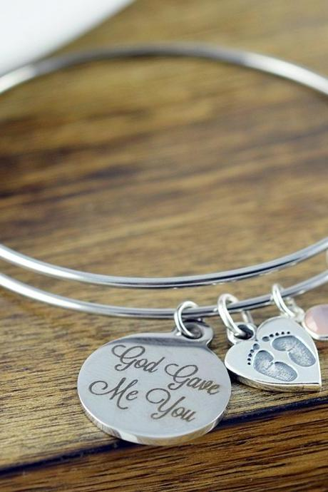 God Gave Me You Bracelet - Silver Bracelet - Grandma - Mothers Day - Baby Child Children - Gift for Grandma - Gift for Mother