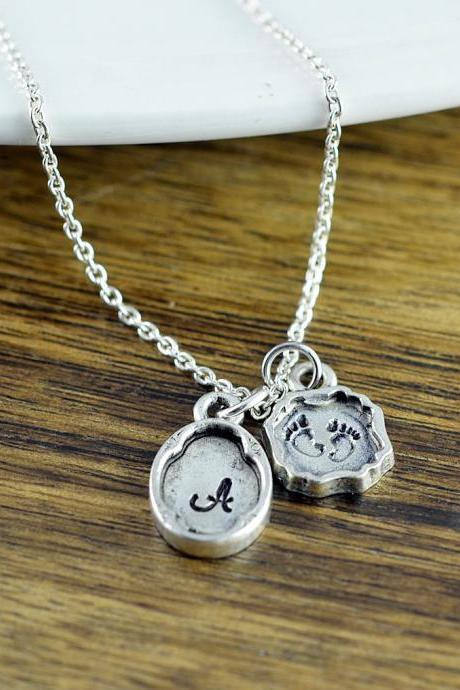 Hand Stamped Necklace, New Mom Gift, Personalized Silver Necklace, New Baby Gift, Baby Feet Charm, Mothers Necklace, Gifts for Mom