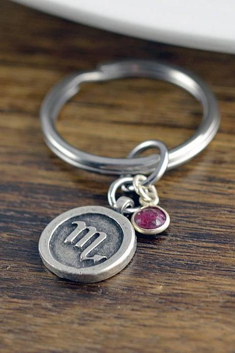 Zodiac Keychain, Zodiac Gifts, Engraved Keychain, Custom Keychain, Zodiac Jewelry, Scorpio Sign Gift, Scorpio Charm, Birthday Gifts for Her