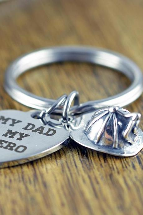 My Dad My Hero KeyChain, Fireman KeyChain, Fireman Gift, My Dad My Hero Gift, Father Gift, Fireman Birthday, Firefighter, Firefighter Gift