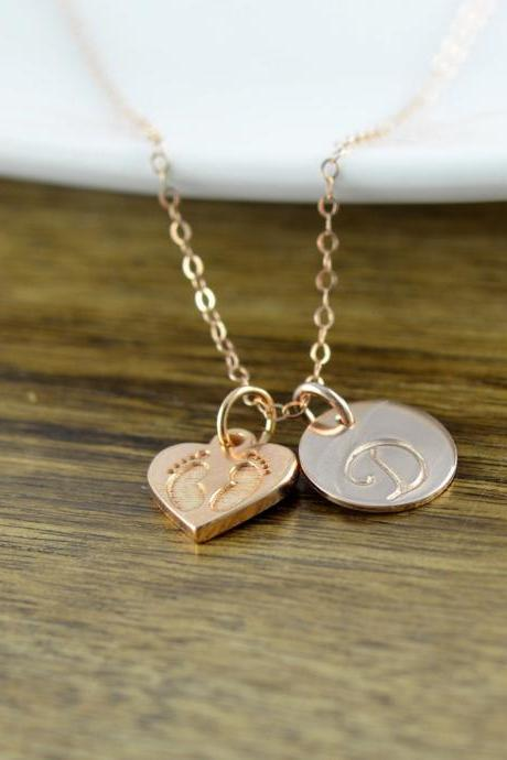 Rose Gold Necklace, Rose Gold Jewelry, New Mom Gift, New Baby Gift, Baby Feet Charm, Personalized Initial Necklace, Rose Gold Jewelry