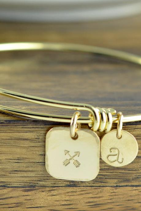 Crossed Arrows Friendship Bracelet, Personalized Jewelry Gift, Hand Stamped Best Friends Gift, Friend Gift, Gift for BFF, Friends Jewelry