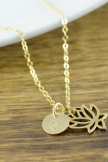 Lotus Necklace - Personalized Lotus Necklace - Gold Lotus Necklace - Lotus Jewelry - Lotus Necklace Gift - Gift for Yoga Lover -Yoga Jewelry