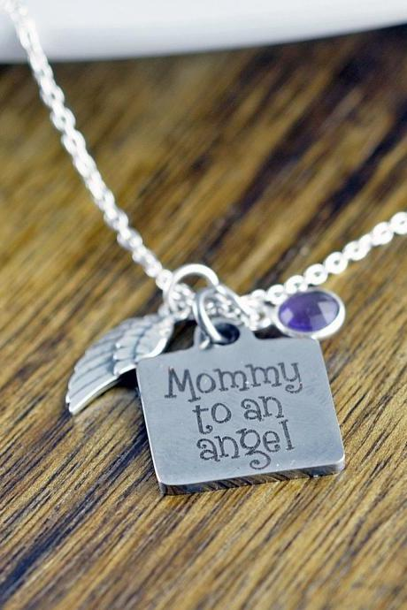 Mommy To An Angel Necklace, Child Loss, Miscarriage Necklace, In Memory, Sympathy Gift, Remembrance Necklace, Memorial Necklace