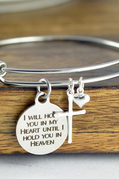I Will Hold You In My Heart Until I Can Hold You In Heaven, Loss Memorial Remembrance Miscarriage - Engraved Jewelry, Remembrance Bracelet