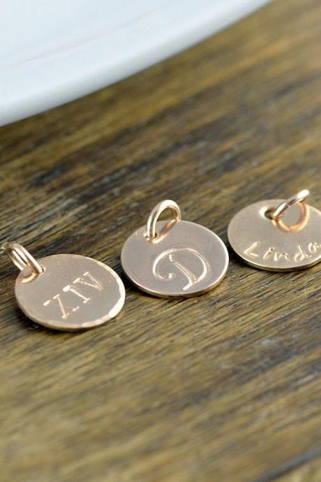 Rose Gold Initial Charm, Personalized Initial, Add A Charm, Hand Stamped Rose Gold Filled Initial Disc, Rose Gold Filled Letter