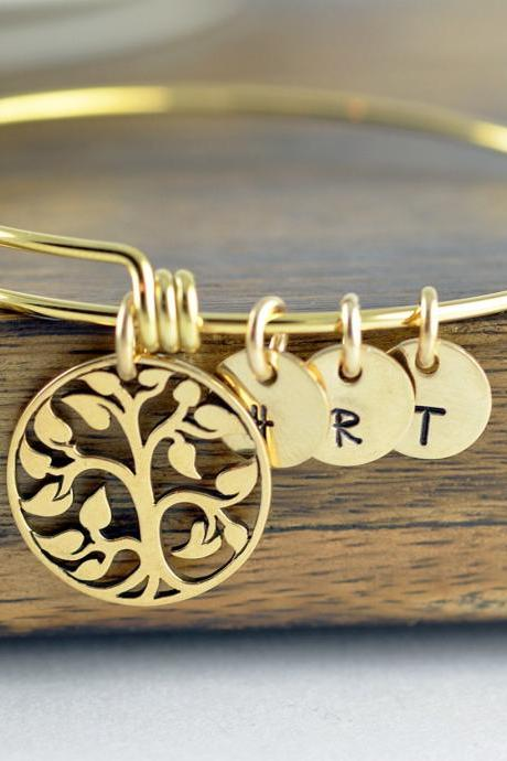 gold family tree bangle bracelet - tree of life bracelet - family tree jewelry - grandmother gift - gifts for mom - mom gift