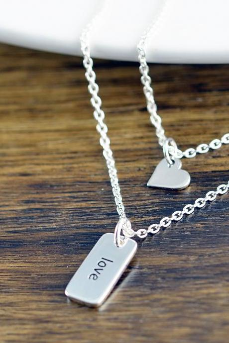 Tiny Heart Necklace - LOVE Necklace - Sterling Silver Love Necklace - Valentine's Day Necklace - Bridesmaid Necklace - Gift For Wife