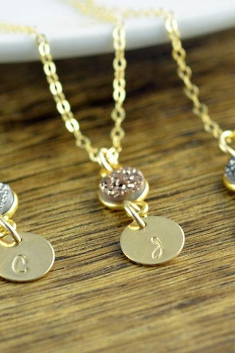 Gold Initial Necklace - Personalized Hand Stamped Initial Necklace - Druzy Jewelry - Druzy Necklace - Bridesmaid Gift - Bridesmaid Jewelry