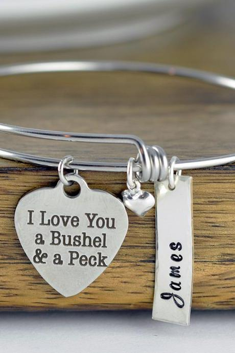 I Love You A Bushel And A Peck, Personalized Jewelry, Engraved Charm Bracelet, Mother's Bracelet, Mothers Jewelry, Gift for Mother