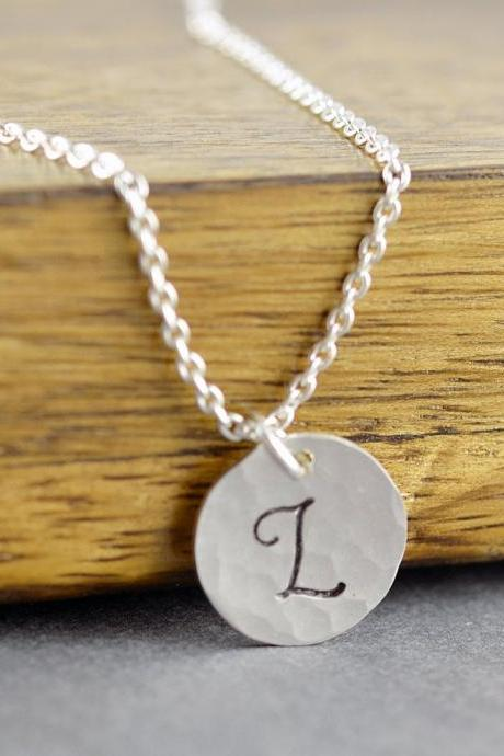 Sterling Silver Initial Necklace - Initial Jewelry - Initial Necklace - Hand Stamped Initial - Delicate Necklace - Layering Jewelry