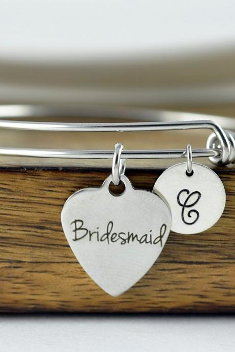 Bridesmaid Bracelet, Bridesmaid Gift, Bridesmaid Jewelry, Bridesmaid Set, Bridesmaid Bracelet Set, Personalized Bangle, Charm Bracelet