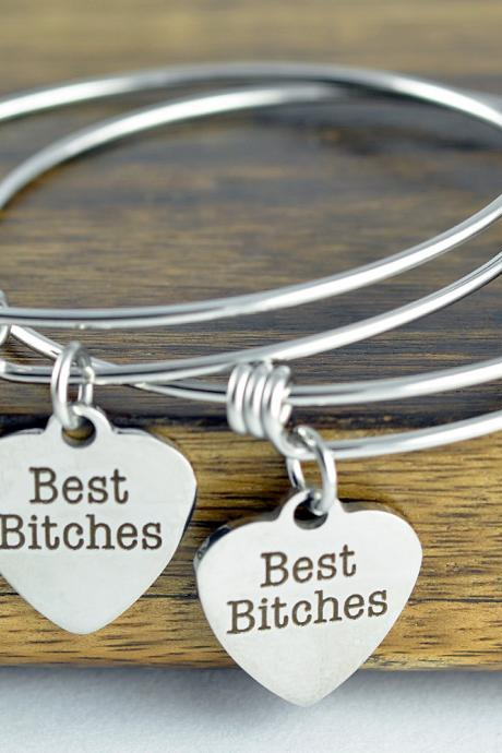 Best Friend Charm Bracelet - Best Bitches Bracelets - Bff Gifts, Friendship Bracelet - Friend Gift Bracelet Set, Best Friends Jewelry