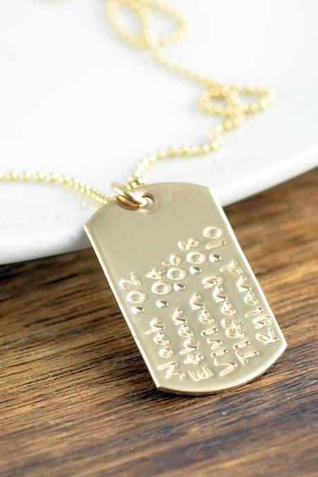Personalized 14k Gold Filled Dog Tag Necklace, Hand Stamped Dog Tag Necklace, Anniversary Gift, Name Necklace,Gift for Dad, Gift for Mom