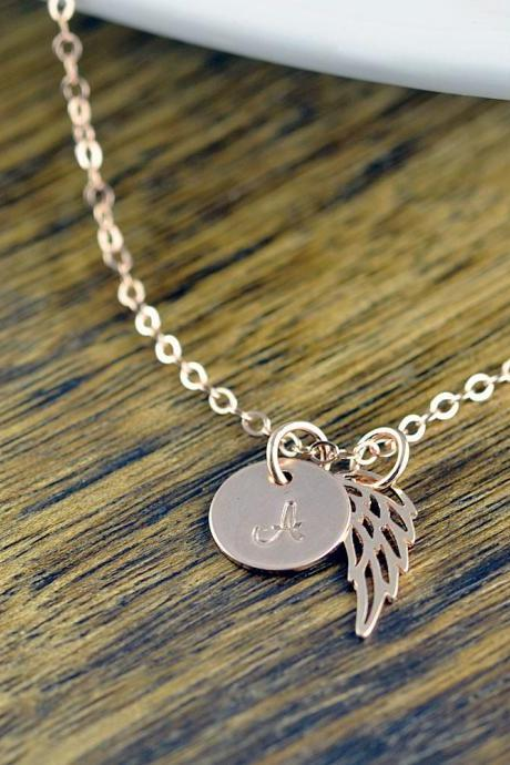 Rose Gold Initial Necklace, Personalized Angel Wing Necklace, Memorial Necklace, Memorial Jewelry, Initial Wing Necklace, Remembrance Gifts