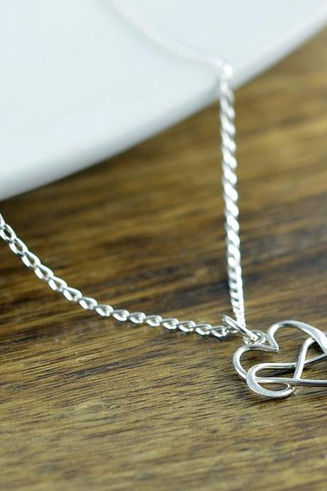 Heart Infinity Necklace, Infinity Necklace, Wedding, Valentine, Necklace - Valentine's Day Necklace - Bridesmaid Necklace -Gift For Wife