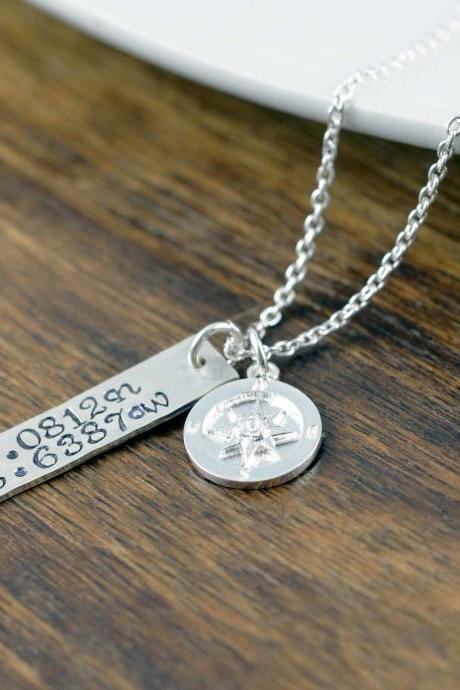 Coordinate Necklace, Latitude Longitude Necklace, Custom Coordinates, Coordinate Jewelry, Hand Stamped Necklace, Sterling Silver Compass