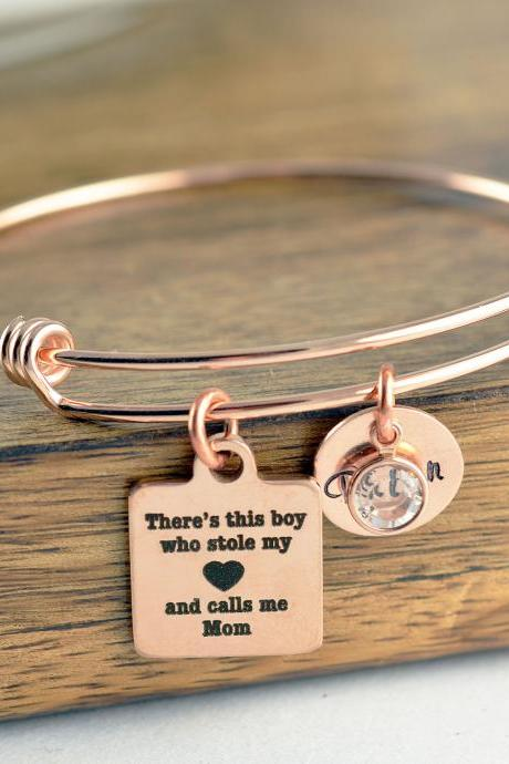 Gift for Mom, There's this boy who stole my heart he calls me mom bracelet, Mother and Son Bracelet, Mothers Jewelry, Christmas Gifts