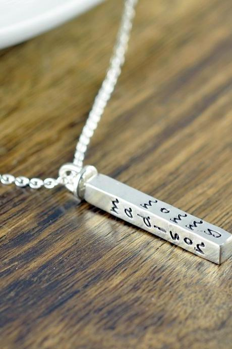 4 sided name bar necklace - hand stamped mother necklace - engraved necklace for mom - name necklace - kids name necklace - gift for mother
