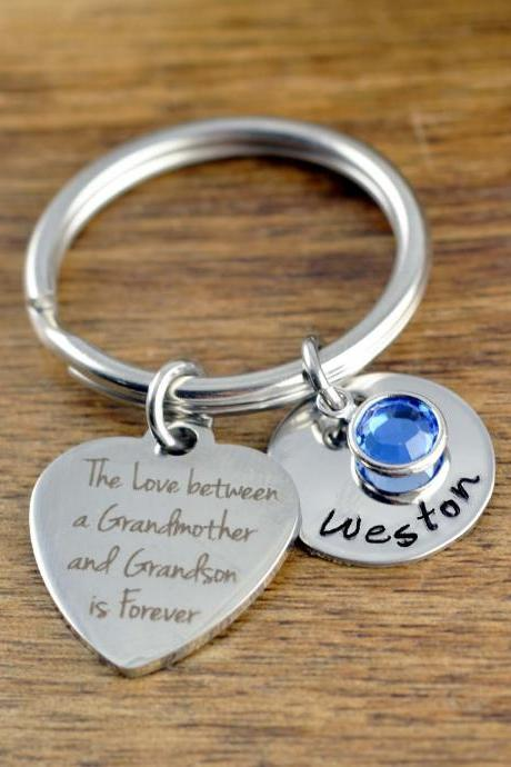 The Love Between A Grandmother and Grandson Is Forever Keychain, Gift for Grandmother, Gift for Grandma, Grandmother Gift, Grandma Gift