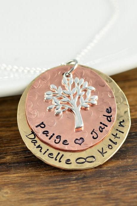Personalized Family Tree Necklace, Personalized Grandma Gifts, Tree of Life Necklace, Mother's Necklace, Personalized Necklace for Mom