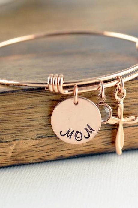 Rose Gold Cross Bracelet, Mom Bracelet, Grandmother Bracelet, Cross Bracelet, Birthstone Charm Bracelet, Personalized Gift for Mom