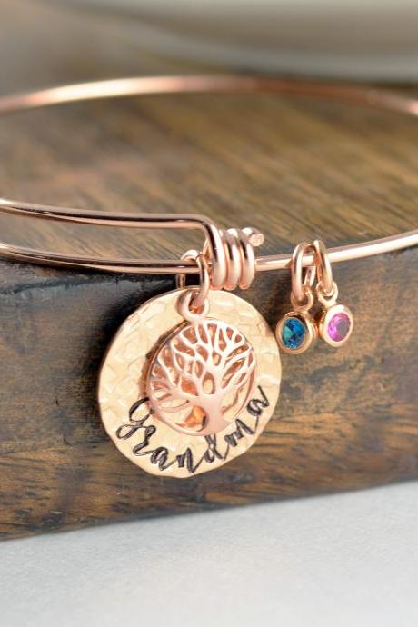 Grandma Family Tree Bracelet, Grandma Gift, Grandma Birthstone Bracelet, Tree of Life Bracelet, Family Tree Jewelry, Grandmother Gift
