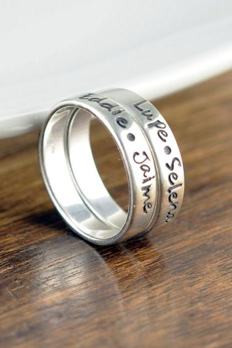 Silver Rings, Custom Name Ring, Mothers Ring,Name Rings, Stacking Rings Silver, Gift for Mom,Personalized Ring, Mothers Jewelry,Mothers Gift