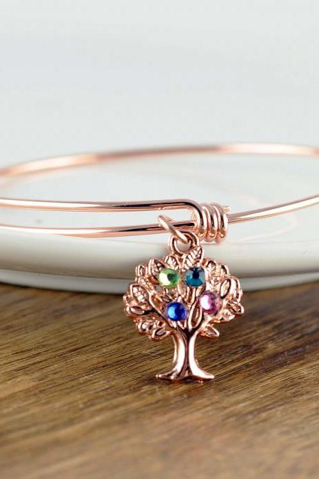Rose Gold Bracelet, Family Tree Bracelet, Tree of Life Bracelet, Gift for Mom, Gift for Grandma, Grandmothers Gift, Birthstone Bracelet