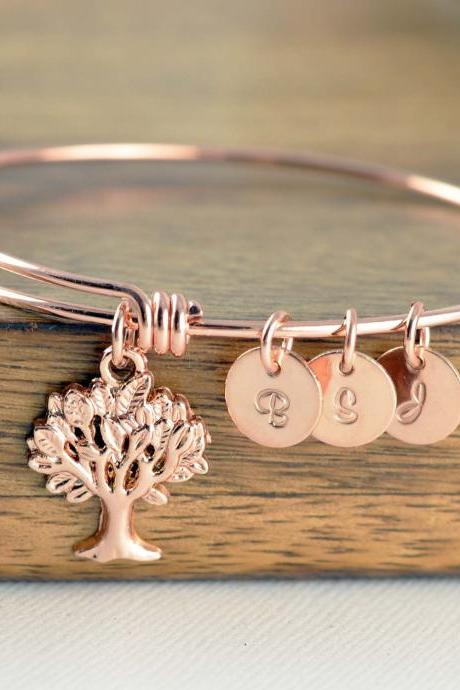 Personalized Bracelet,Tree of Life, Family Tree Jewelry, Grandmother Gift, Gifts for Mom, Mom Gift, Initial Bracelet, Rose Gold Bracelet
