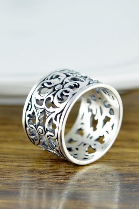 Sterling Silver 'Guinevere' Filigree Ring - Cigar Band Ring - Boho Ring - Modern Ring - Womens Rings - Gift For Her - Statement Ring