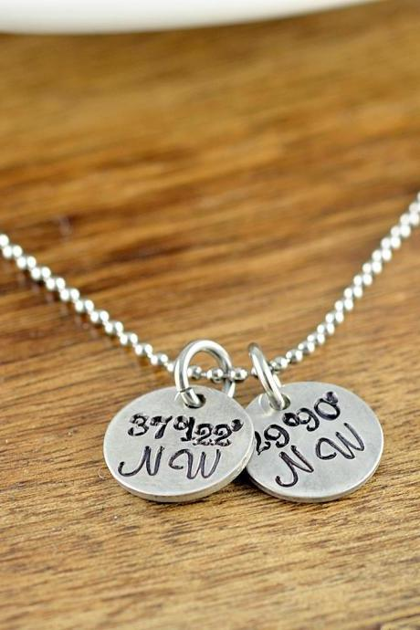 Personalized Mens Necklace, Mens Jewelry, Coordinate Necklace, Valentines Day Gift for Him, Gift for Boyfriend, Coordinates Jewelry