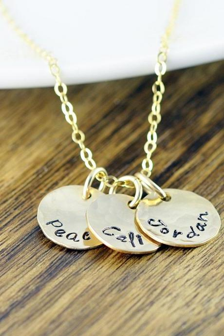 Gold Name Necklace - Hand Stamped Necklace - Gold Name Necklace - Gold Jewelry - 14 kt Gold Filled - Personalized Jewelry - Custom Necklace