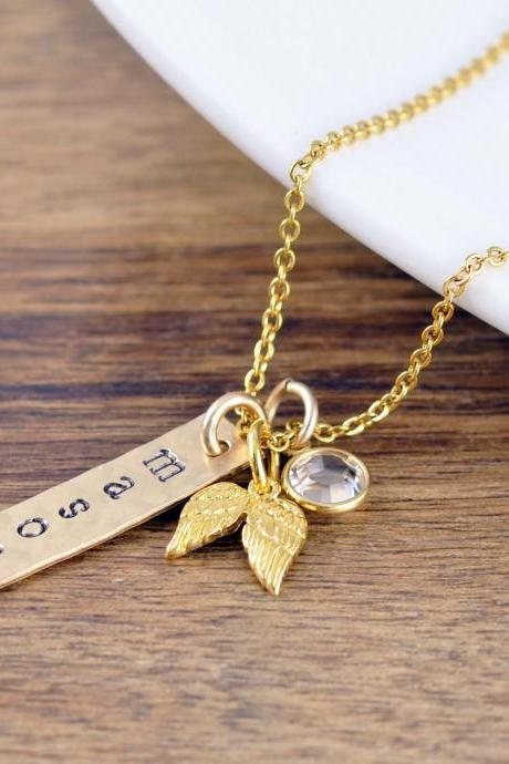 Gold Name Necklace, Baby Feet Necklace, Memorial Necklace, Memorial Jewelry, Remembrance Gifts, Baby Loss Gift, Miscarriage Remembrance