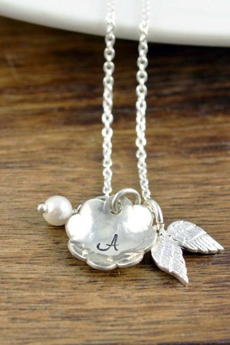 Silver Initial Necklace, Memorial Jewelry, Remembrance Gifts, Baby Loss Gift, Remembrance Jewelry, Loss of Child Gift, Loss of Baby