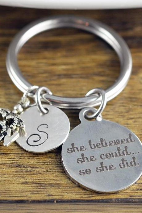 She Believed She Could So She Did Keychain, Nurse Gift, Gift for Nurse, Caduceus Jewelry, Nursing Gift, RN gift, Nursing Student Gift